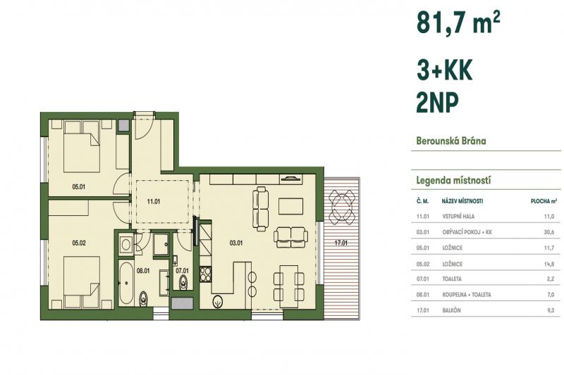 Квартира 3+кк, 82 м2, Beroun