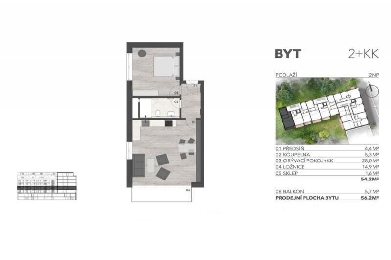Квартира 2+кк, 56м2, Libeň