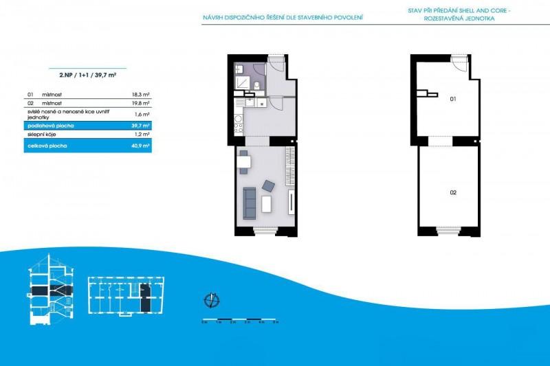 Квартира 1+1, 39 м2, Smíchov