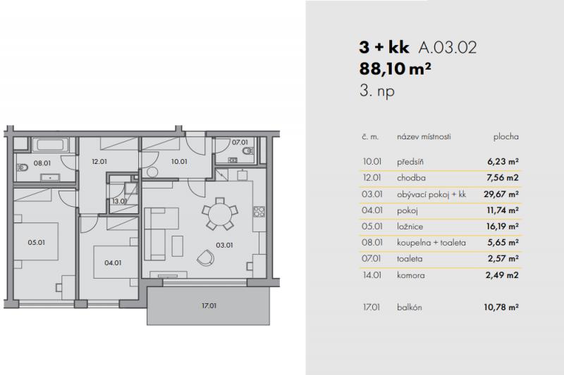 Квартира 3+kk, 81,1м2, Na Smíchově