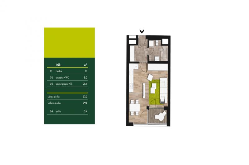 Квартира 1+кк, 39м2, Anděl