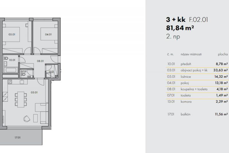 Квартира 3+kk, 82м2, Na Smíchově