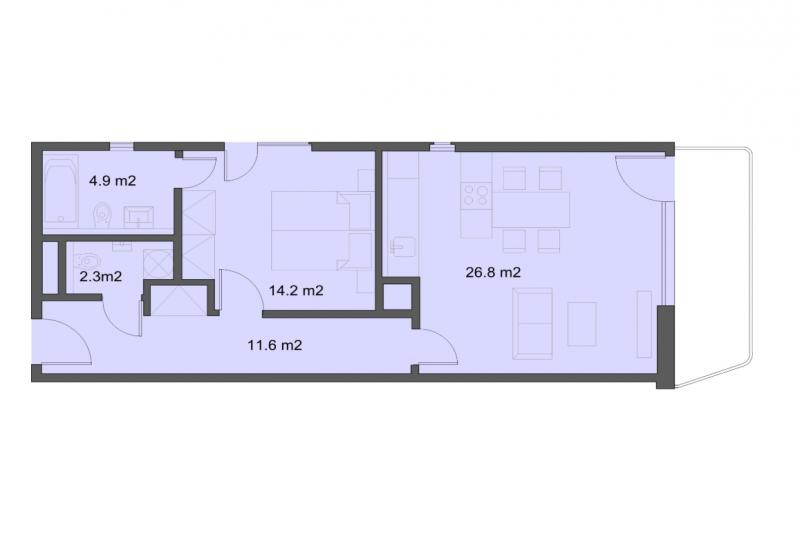 Квартира 2+кк, 61м2, Marina Boulevard