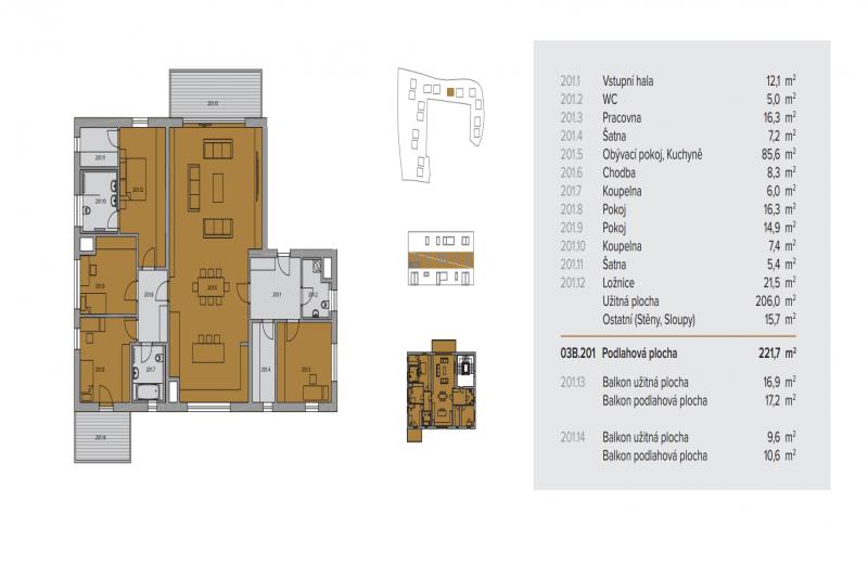 Квартира 5+kk, 222м2, La Crone-Ladronka