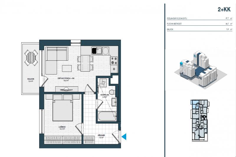 Квартира 2+кк, 48м2,Hloubětín