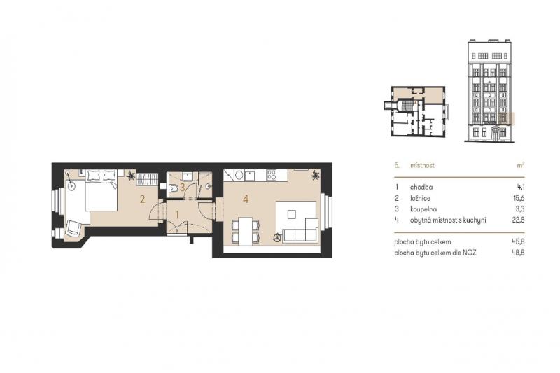 Квартира 2+кк, 48,8м2, Vršovice